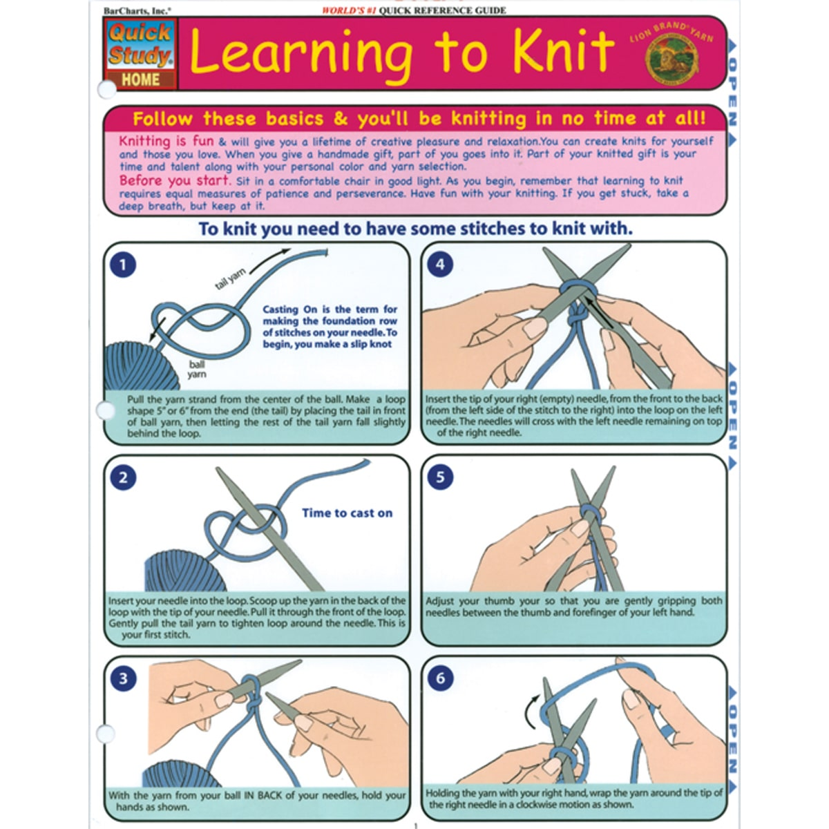 Quick Study Reference Guide Learning To Knit