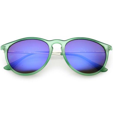 93bd917d3cf7f sunglassLA - sunglassLA - Modern Horn Rimmed Sunglasses Metal Arms Round  Mirrored Lens 52mm - 52mm - Walmart.com