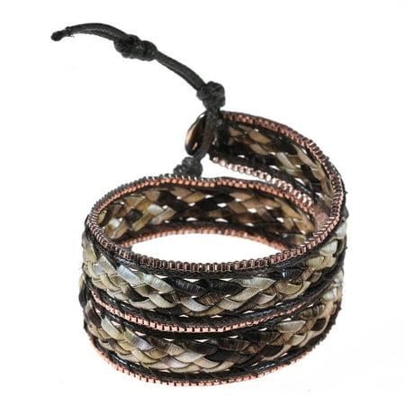 Vintage Braided Silk & Brown Leather with Copper Metallic Trim Wrap