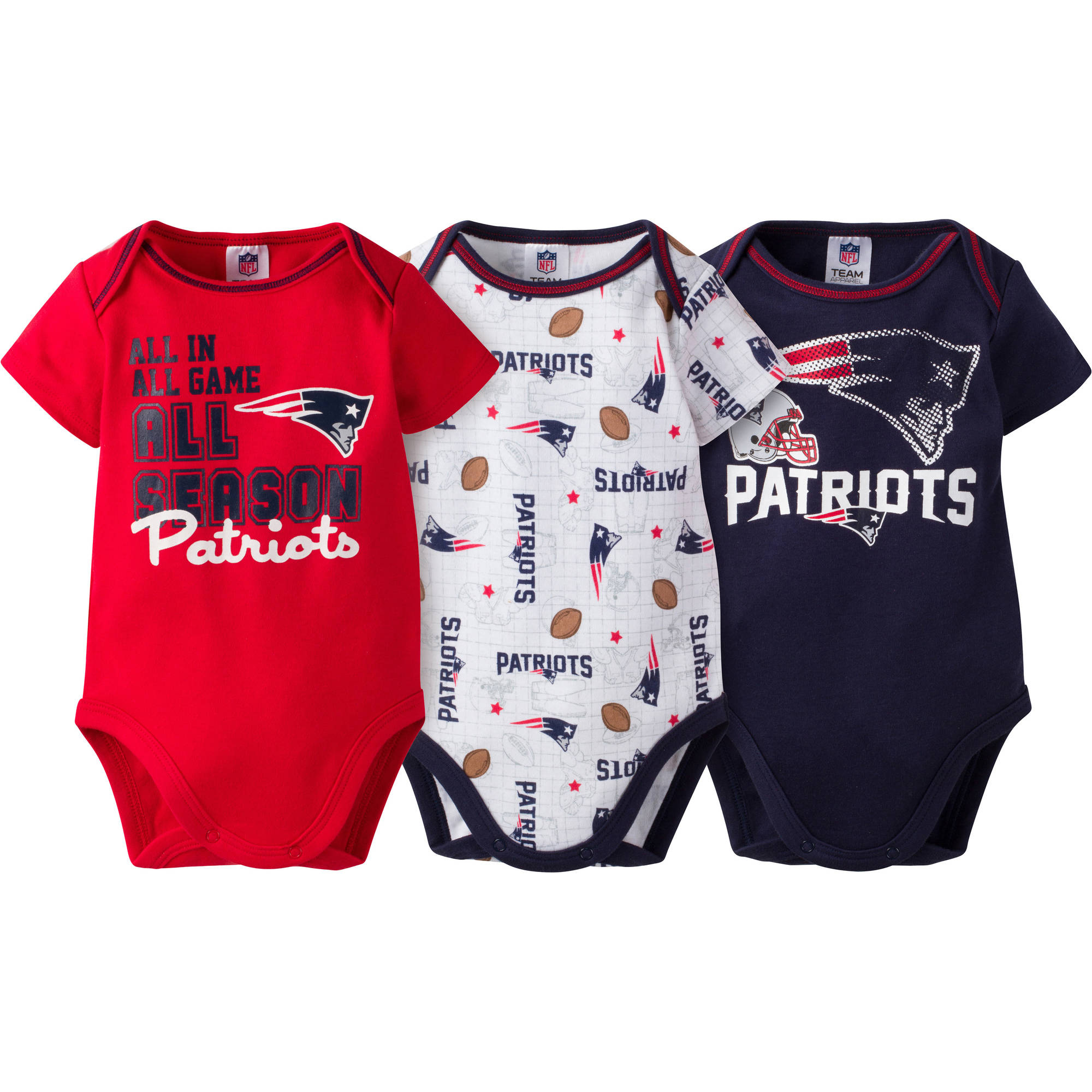 NFL New England Patriots Baby Boys Short Sleeve Bodysuit Set, 3-Pack