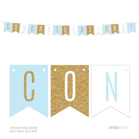 Signature Baby Blue, White, Gold Glittering Bridal Shower Party, Hanging Pennant Banner, -
