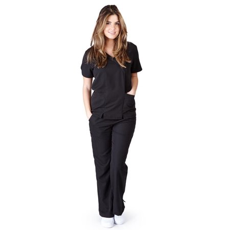 UltraSoft Premium 2 Pocket Cross Over Tunic Medical Scrub Set For Women - JUNIOR FIT Black / Medium](Personalized Scrubs For Kids)
