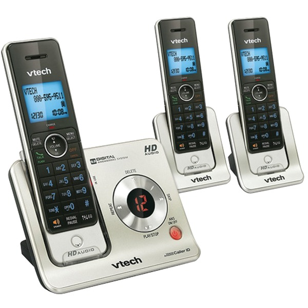 VTech-LS6425-3-DECT-6.0-Cordless-Phone-Black-Silver-3-Handsets by VTech