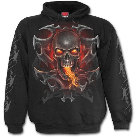 Paint Tribal Flames - Spiral Direct FIRE DRAGON Fleece Hoody BlackDragon |Flames |Tribal |Skulls
