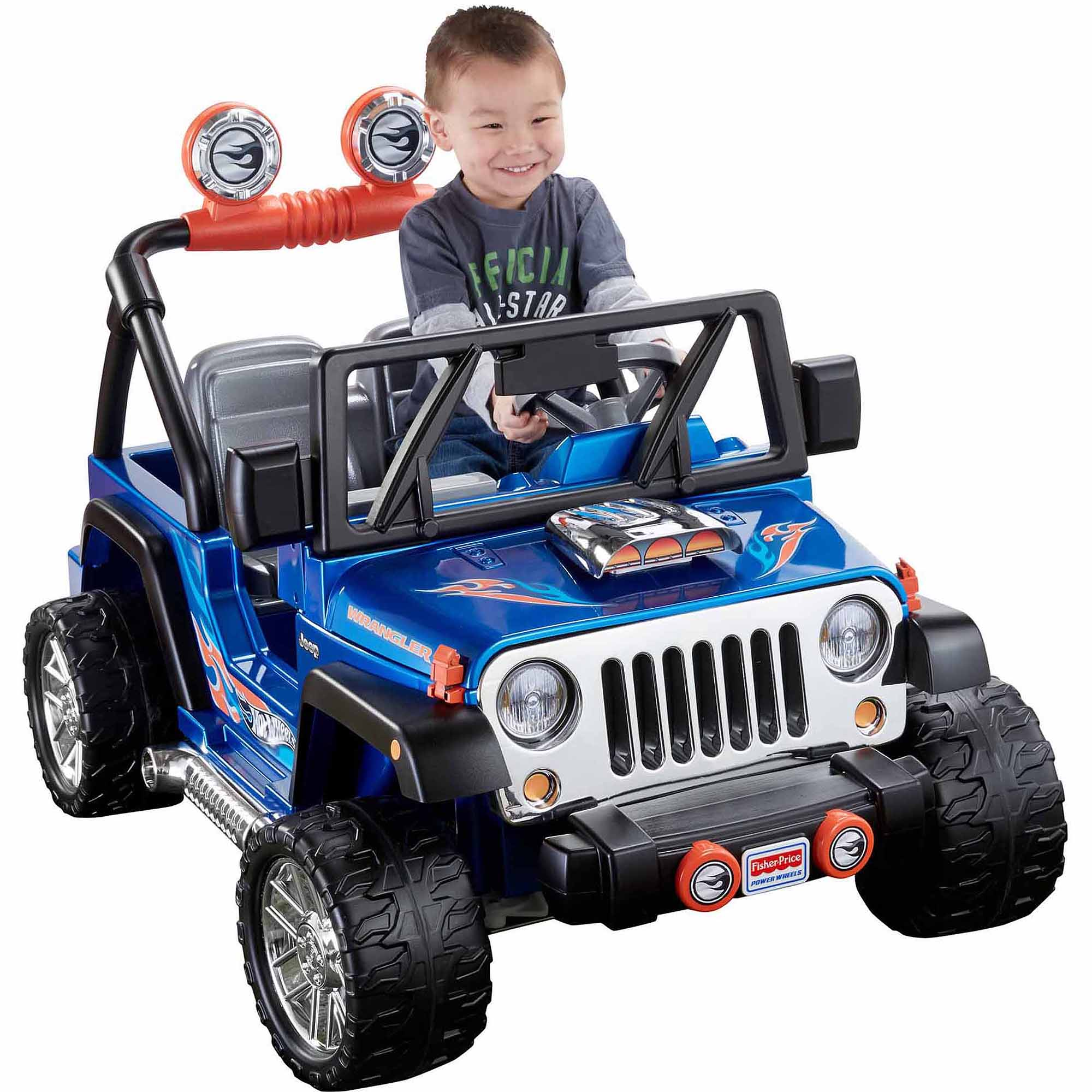 Fisher-Price Power Wheels Hot Wheels Jeep Wrangler 12-Volt Battery-Powered Ride-On, Blue