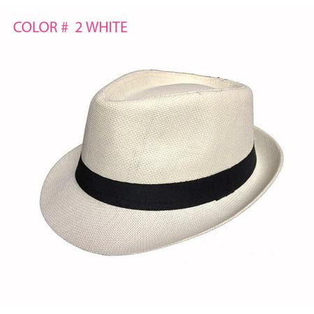 da0c6328085 Paskmlna® - Straw Fedora Hat Trilby Cuban Cap Summer Beach Sun Panama Short  Brim Men Women - Walmart.com