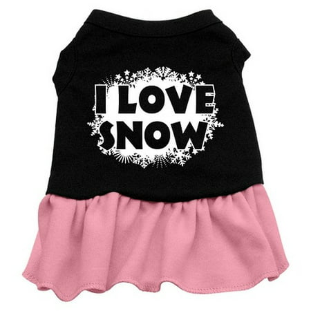 I Love Snow Screen Print Dress Black with Pink Med (12) - 1970 Dress Attire