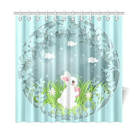 MKHERT Easter Bunny Shower Curtain Home Decor Bathroom 66x72 Inch
