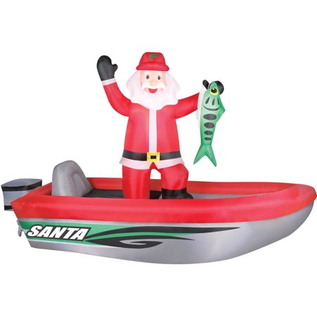 Holiday Time Airflowz 10 Santa In Boat Inflatable