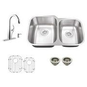 Schon SC765710N Double Basin Undermount Kitchen Sink Set