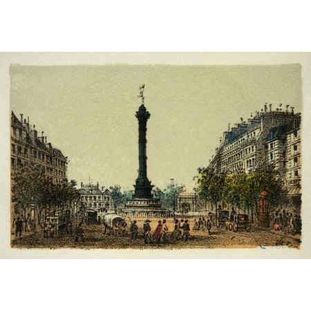 Gravure  Paris En 1874  La Colonne De Juillet  Coll Canvas Art     24 X 18