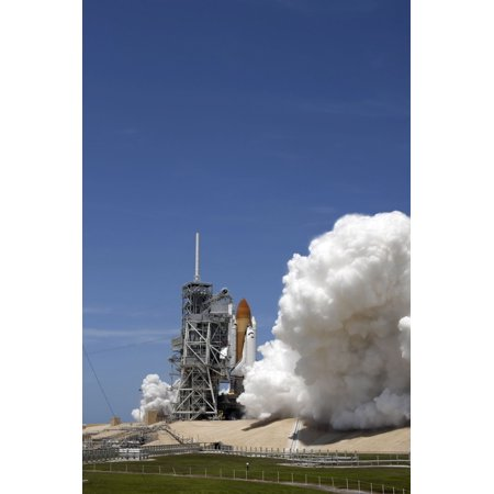 An Exhaust Plume Forms Around The Base Of Launch Pad 39A As Space Shuttle Atlantis Lifts Off On The Sts 132 Mission Canvas Art   Stocktrek Images  23 X 34