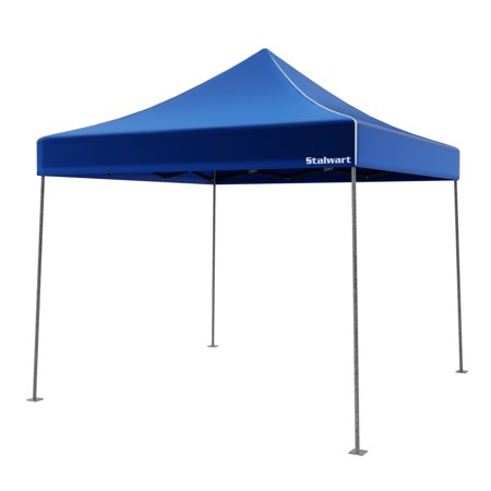 Canopy Tent Outdoor Party Shade, Instant Set Up and Easy Storage / Portable Carry Bag, Water Resistant Spacious Summer Cover 10x10 By Stalwart (Blue)