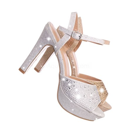 Delaney1 by Top Moda, Rhinestone Studded Party Sandal - Women High Heel Glitter Platform