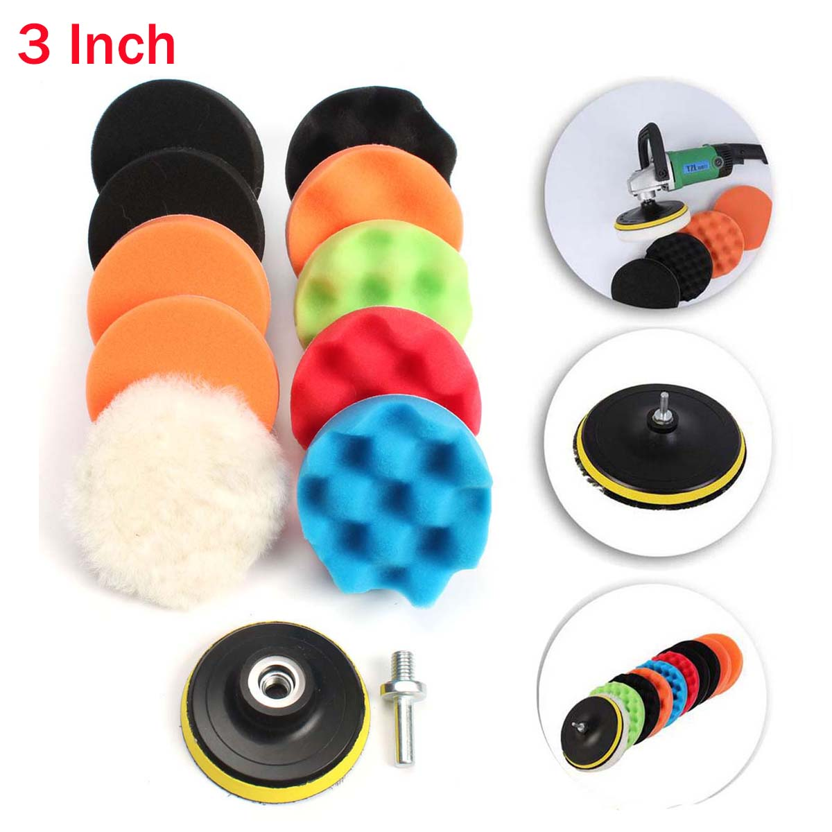 "11Pcs 3""/5""/6""/7"" Waffle Buffer Compound Waxing Polishing Wheel Tool Sponge Pad Drill Adapter Kit Set For Auto Car Polisher Select Size"