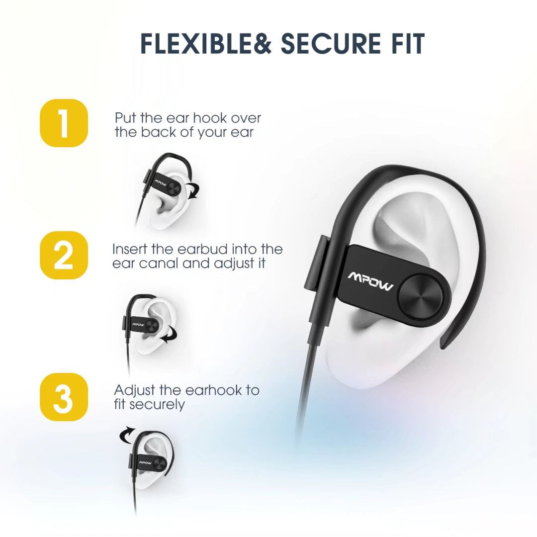 7b4344c7a3f Mpow D2 Bluetooth Headphones, Bluetooth 4.1 Sports Earphones with 16 Hours  Battery, IPX7 Waterproof Nano Coating, Workout Headset with Mic and Carry  Pouch ...