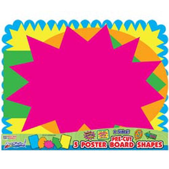 "Artskills Pre-Cut Posterboard Shapes, 22"" x 28"", 5/pkg, Bright Neon Colors"