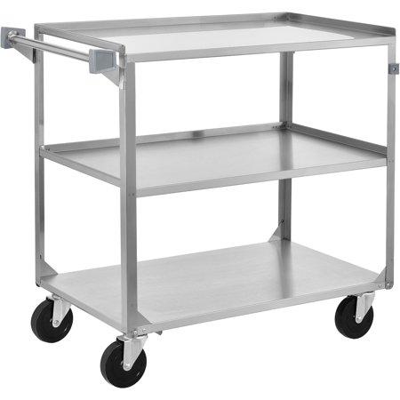 3 Shelf Stainless Steel Utility Cart, 30-3/4 x 18-3/8 x 33, 300 Lb Cap, Lot  of 1