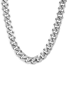 Men's Stainless Steel Beveled Curb Link Chain Necklace (10 mm)