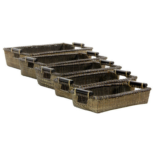 Oriental Furniture Rattan Open Baskets (Set of 5)