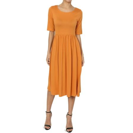 - TheMogan Women's 1/2 Short Sleeve Pleated Empire Waist Fit & Flare Pocket Dress