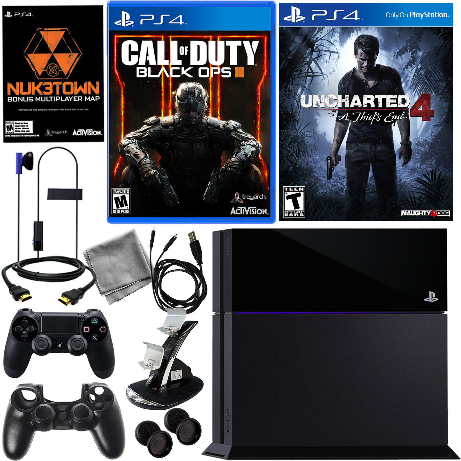 PlayStation 4 500GB Black OPS III Bundle with Uncharted 4 Thief's End & More