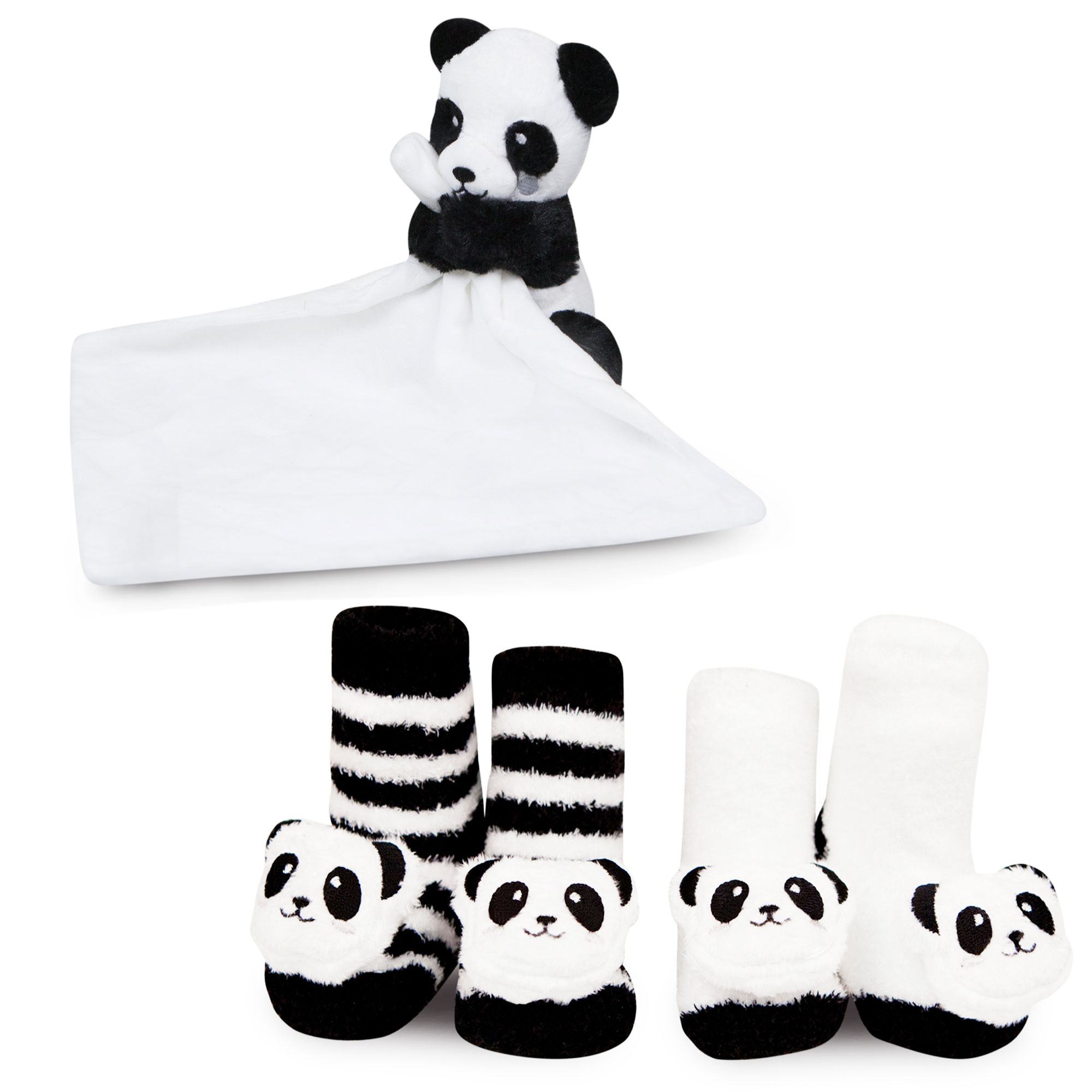 Waddle Baby Gift Set Plush Panda Bear Security Blanket and Newborn Rattle Socks by Waddle and Friends