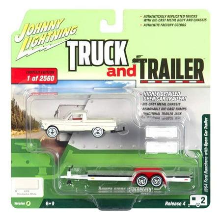 1964 Ford Ranchero Pickup Truck w/Open Car Trailer Wimbledon White Ltd Ed 2,560 pcs 1/64 Diecast Car by Johnny Lightning 1964 Ford Victoria Engine