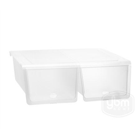 Hinged Lid Storage (Ybmhome Closet Storage Organizer Double Shoe Box with Hinged Lid, For Flats, Athletic Shoes, Sandals-Frosty White 2160 )