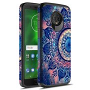 Moto G6 Case, KAESAR Hybrid Dual Layer Shockproof Hard Cover Graphic Fashion Cute Colorful Silicone Skin Case for Motorola Moto G 6th Generation (Mandala)