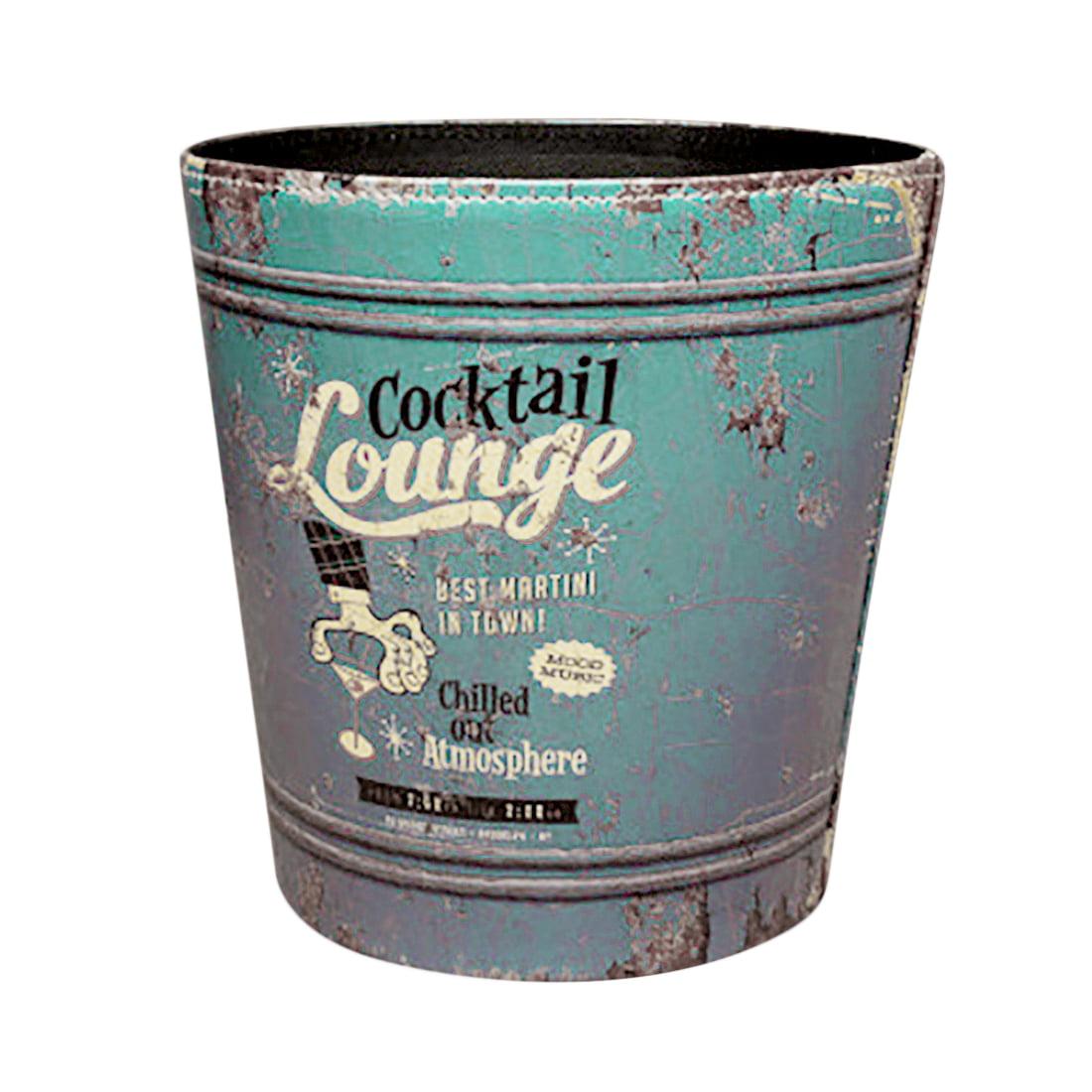 European Style Retro PU Leather Wastebasket Paper Basket Trash Can ...