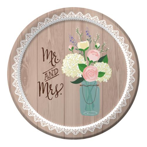 "Club Pack of 96 Rustic Wedding ""Mr. & Mrs."" Disposable Paper Party Luncheon Plates 7"""
