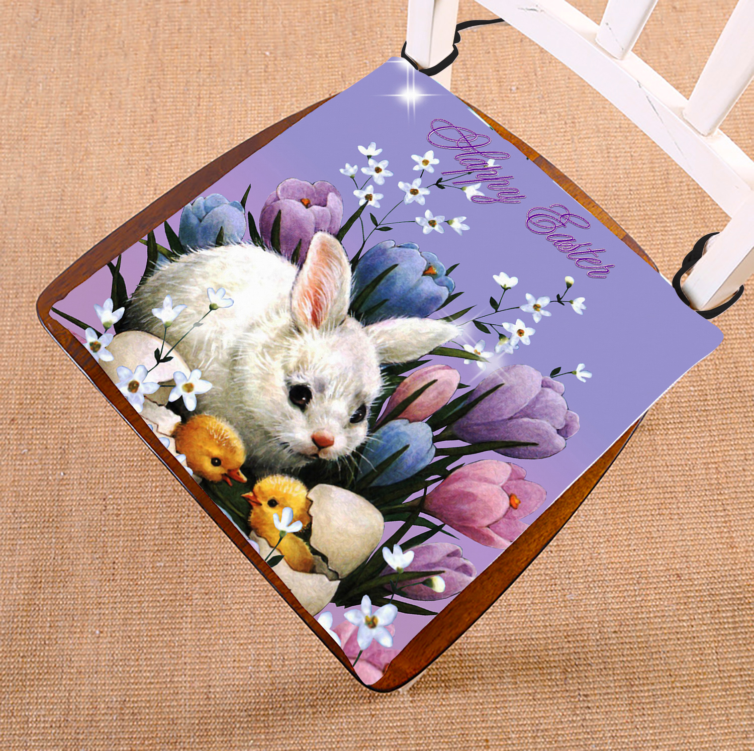 GCKG Happy Easter New Style Chair Pad Seat Cushion Chair Cushion Floor Cushion with Breathable Memory Inner Cushion and Ties Two Sides Printing 16x16 inches