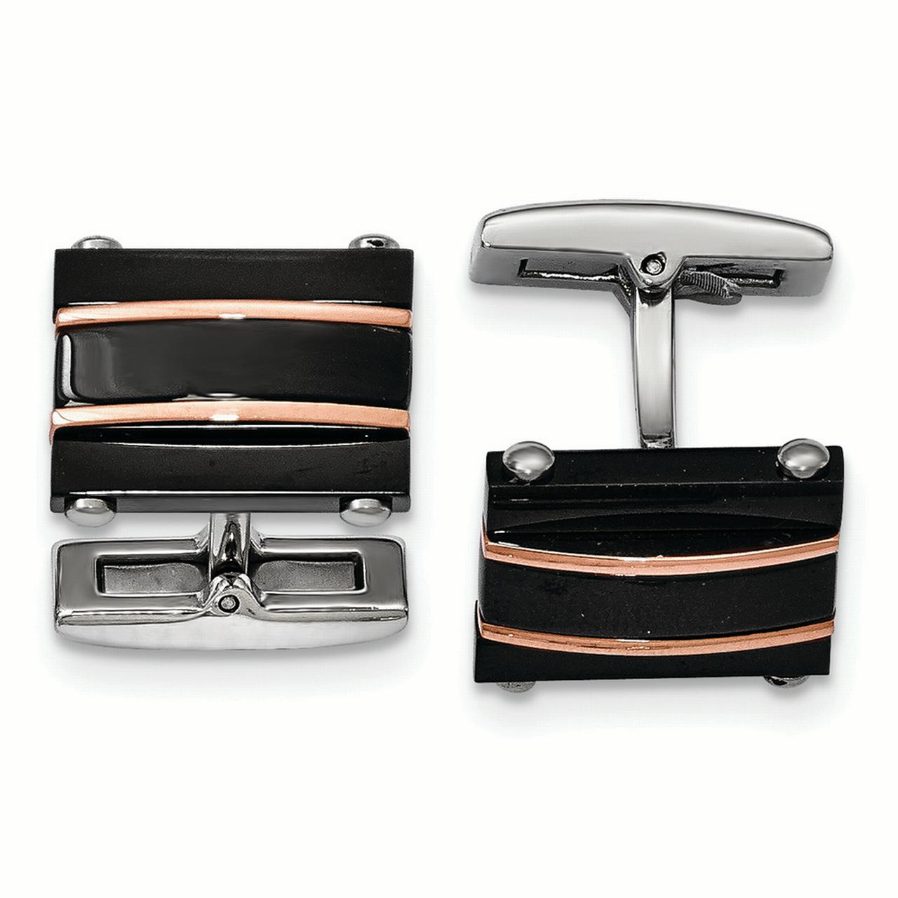Chisel Stainless Steel Polished Black and Rose IP Plated Cuff Links