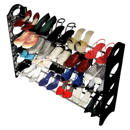 Ktaxon Concise Integration 4 Layers Shoe Rack Storage Cabinet Portable Shelf Cabinet Black & White - image 3 of 4