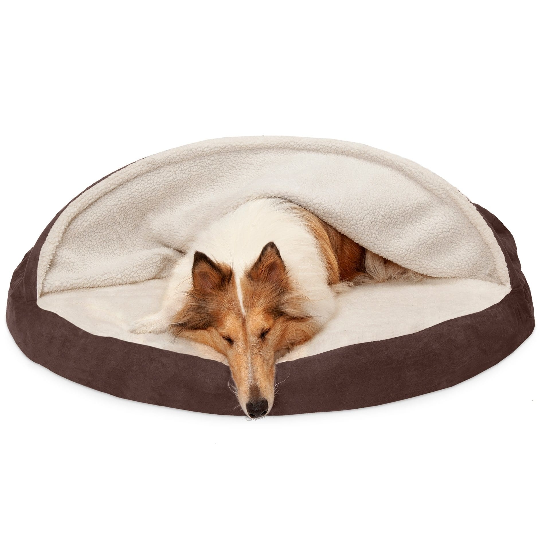 FurHaven Pet Dog Bed | Orthopedic Round Faux Sheepskin Snuggery Burrow Pet Bed for Dogs & Cats, Espresso, 44-Inch