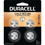 Duracell 2016 Lithium Coin Battery 3V, Bitter Coating and Child Secure Packaging, 4 Pack