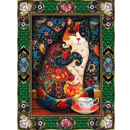 Diamond Painting Embroidery Cross Stitch Full Mosaic DIY Kit Vintage Cup Floral Cat Animal Rhinestone Home (Vintage Needlepoint)