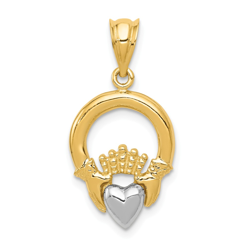 14k Two Tone Gold Claddagh Pendant