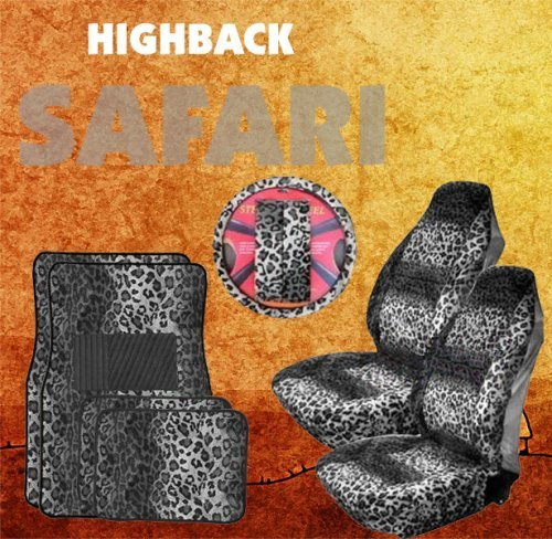 9pc Safari Grey Leopard Print Car Floor Mats, High Back Seat Covers, Steering Wheel Cover & Shoulder Pad Set by LavoHome