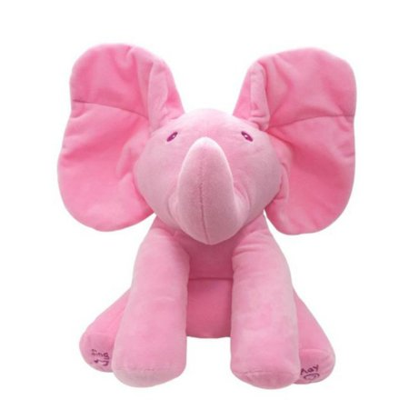Tinymills Peek-a-boo Talking Singing Ear Flappy Elephant Music Doll Soft Plush Toy Baby Kids Boy Girl -