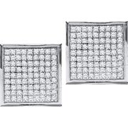 Gold and Diamonds EF7440-W 0. 05CT-DIA MICRO-PAVE EARRINGS- Size 7