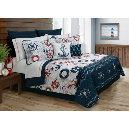 Ocean Club Anchor Quilt Set by Safdie and Co ()
