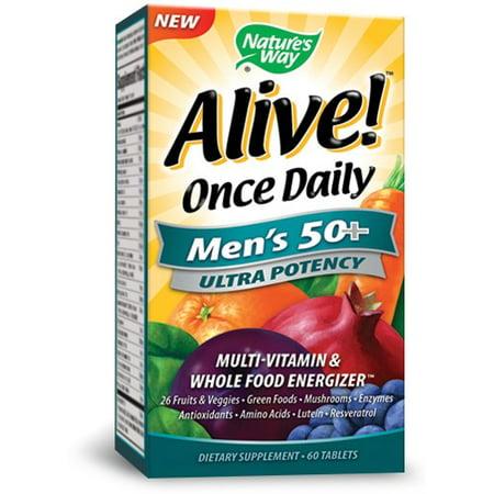 Nature's Way Vivant! Une fois par jour Comprimés 50+ hommes, 60 Ct
