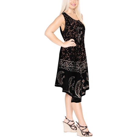 Women Swim Boho Rayon Tie Dye Embroidered Loose Tank Smock Dress Holiday Summer Evening Party Beach Sundress