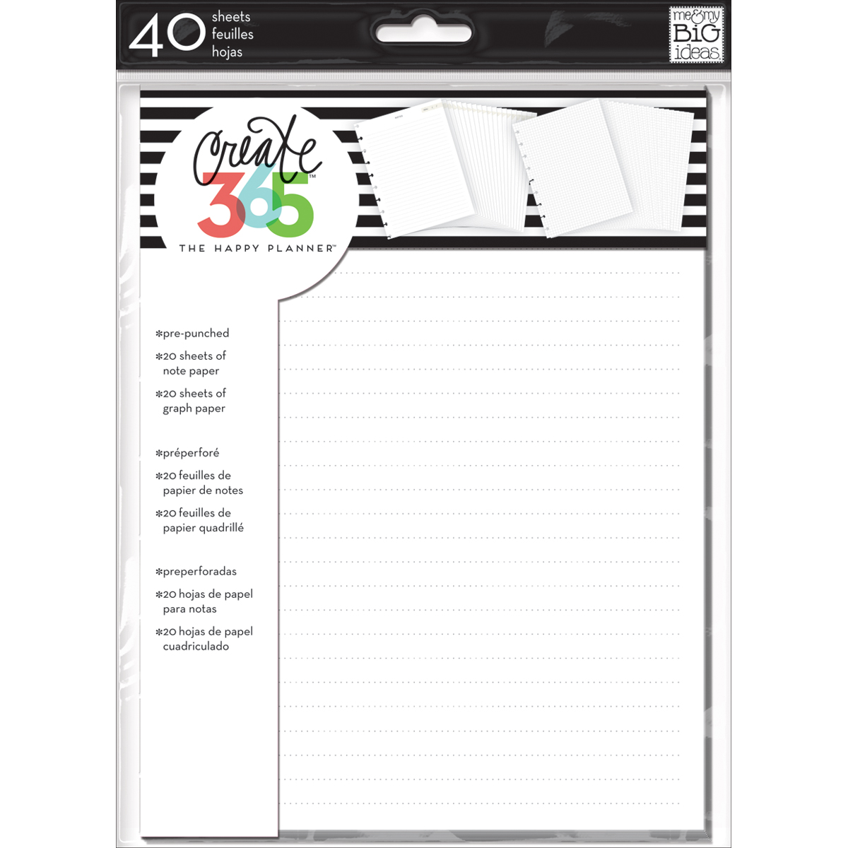 "Happy Planner Fill Paper 9.25""x7"" 40/Pkg-White Note & Graph"