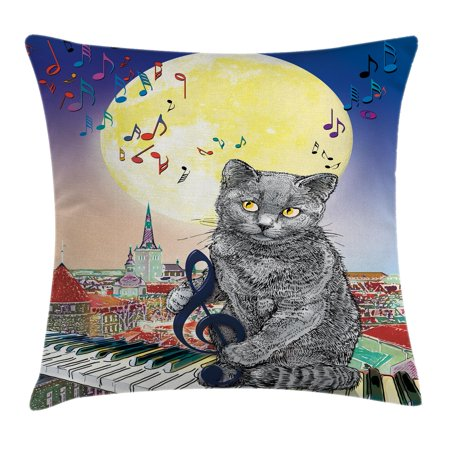 City Decor Throw Pillow Cushion Cover, Musical Notes Cat with the Keyboard on Rooftops in Night Sky Old Town Full Moon Art, Decorative Square Accent Pillow Case, 16 X 16 Inches, Multi, by Ambesonne](Musical Decor)