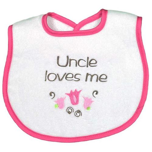 "Baby Girls ""Uncle Loves Me"" Embroidered Bib, Strawberry by Raindrops"