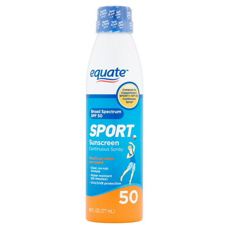 (2 pack) Equate Sport Sunscreen Continuous Spray Broad Spectrum, SPF 50, 6 Fl Oz