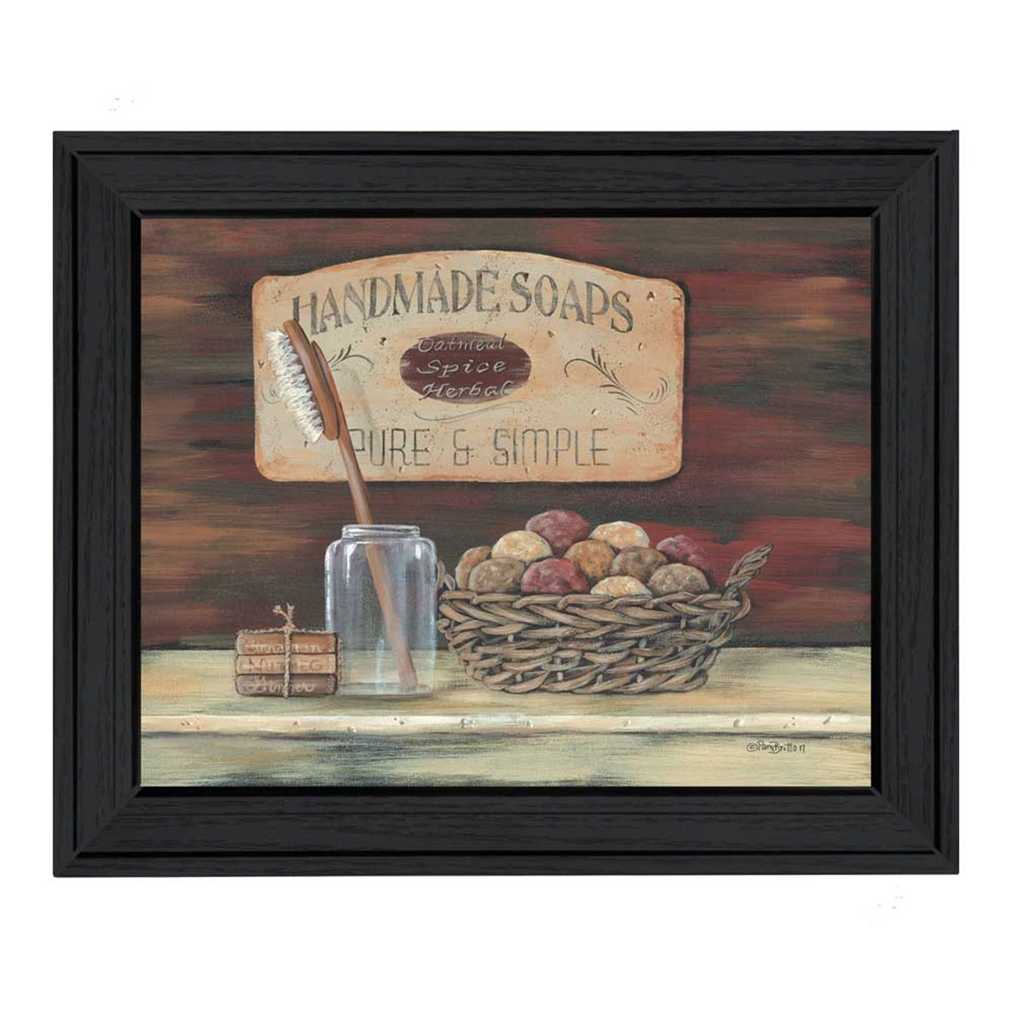 "Trendy Decor 4U ""Handmade Soaps"" By Pam Britton, Printed Wall Art, Ready To Hang Framed Poster, Black Frame"
